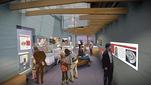 Rendering of exhibit interior with interpretive stations and benches