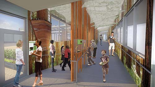 Rendering of interior corridor with architectural details representing natural shapes and ecosystems