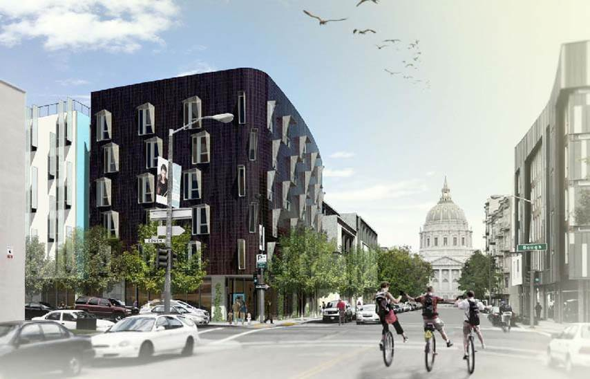 Rendering of exterior corner view of 388 Fulton at Gough Street; distinct black cladding is accented by staggered windows