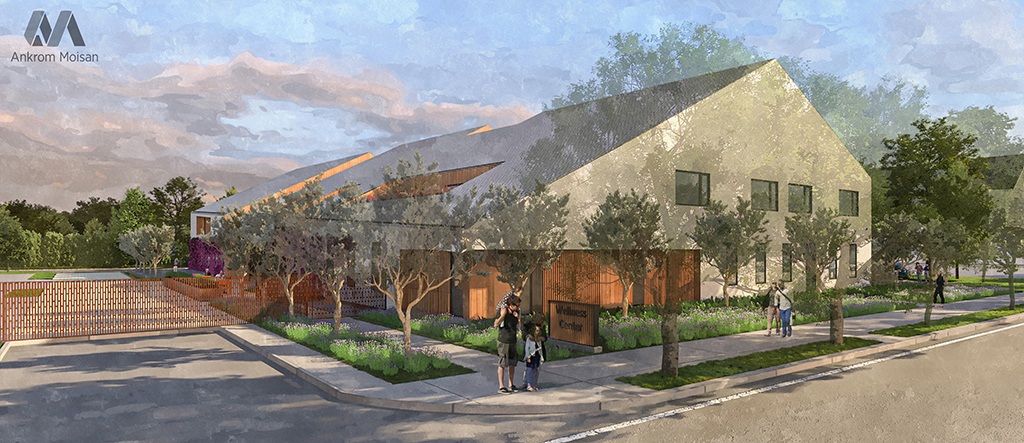 Exterior rendering of wellness center with distinct sloping roofline nestled among street trees