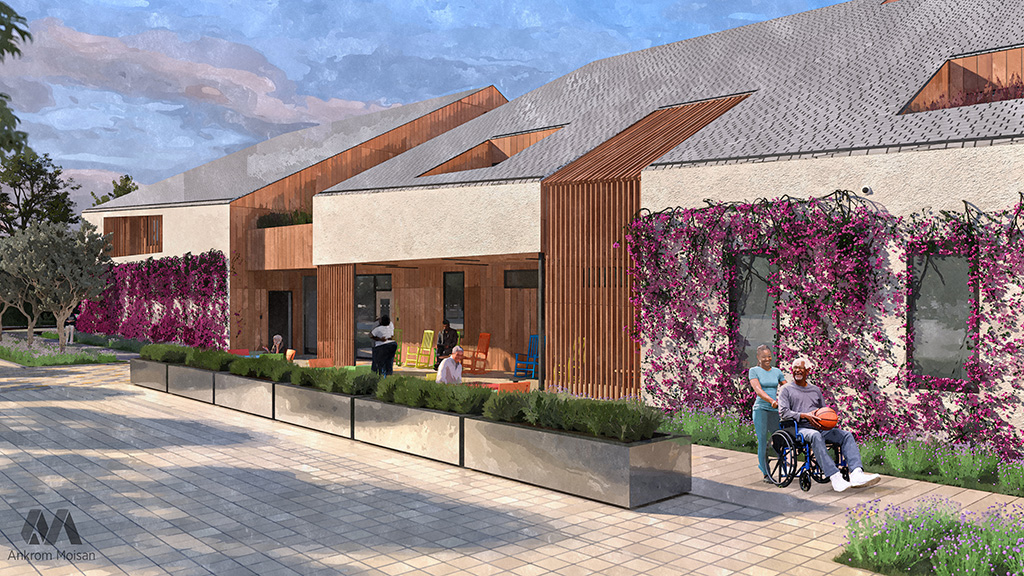 Exterior Rendering with landscaped walkways and seating areas