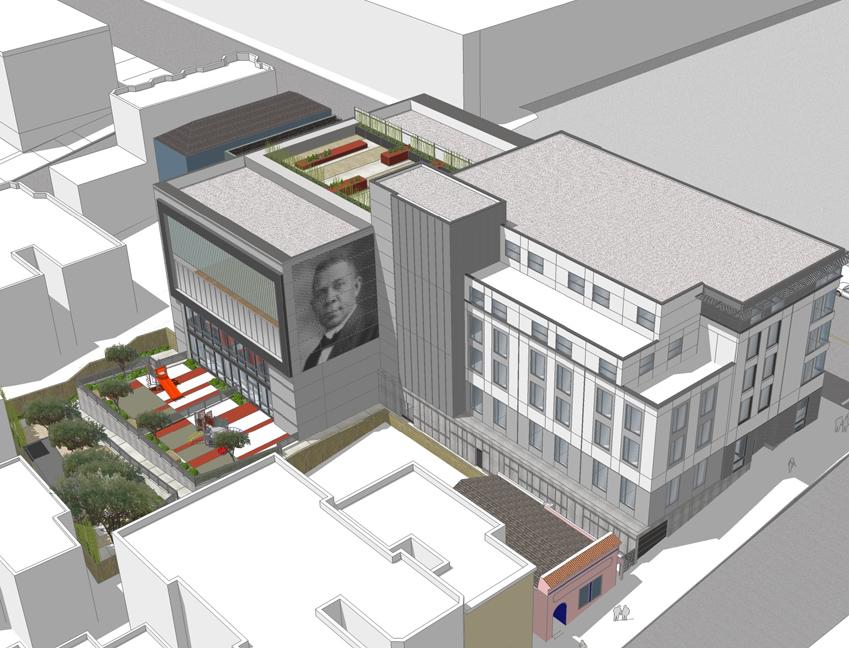 Bird's eye rendering of building exterior showing building, rooftop deck, courtyards, and mural