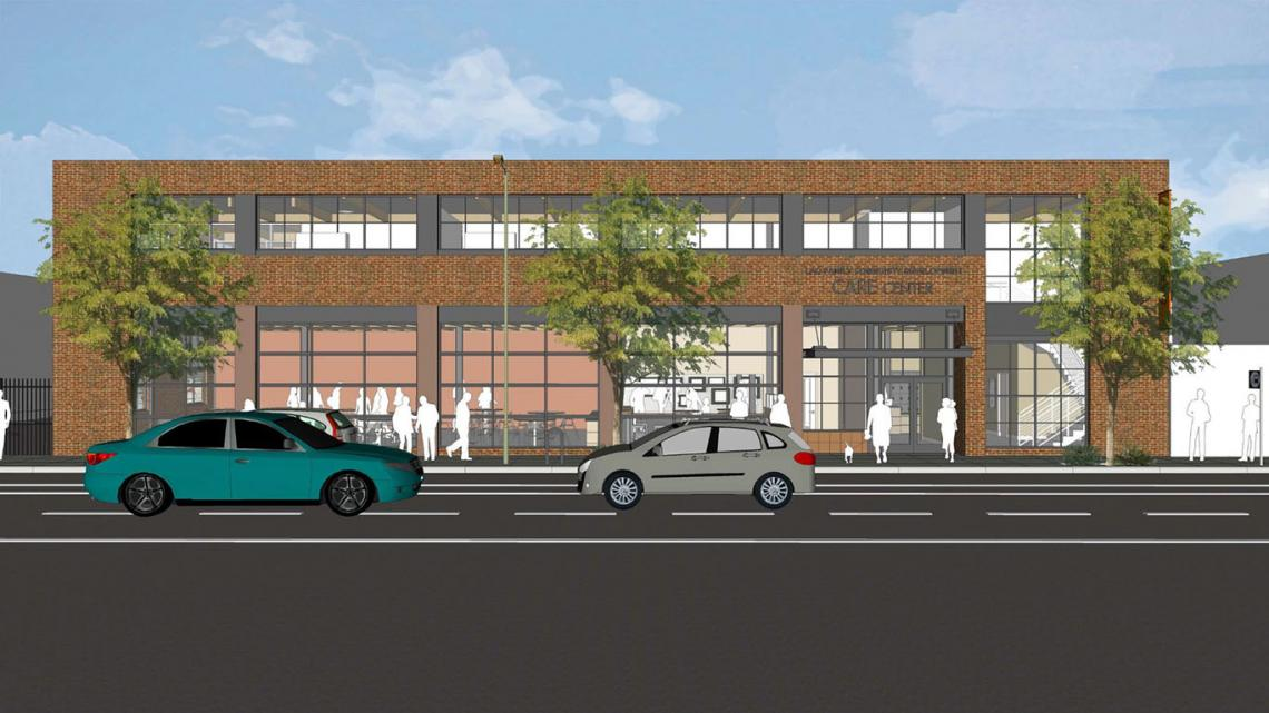 Street-level rendering of two-level building with brick façade and large windows along 12th Street in Oakland