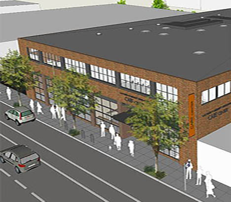 Bird's eye rendering of building exterior along 12th Street with sidewalk and street trees