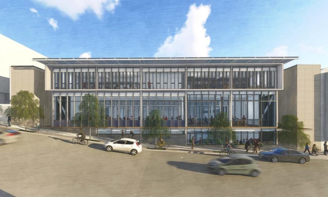 Rendering of modern building exterior along the incline of California Street
