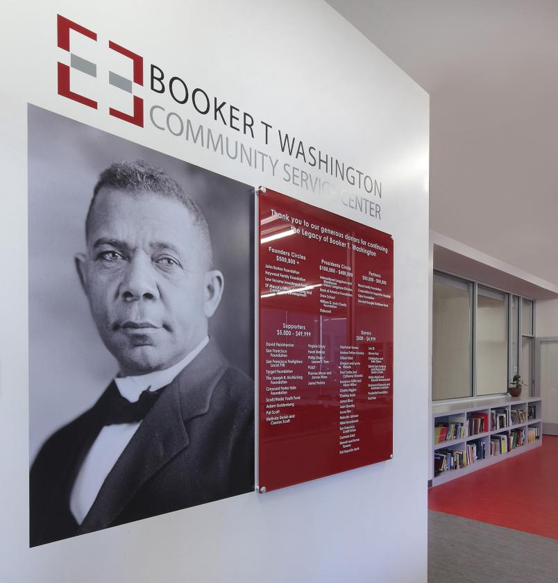 Interior view of Booker T Washington and bright red donor recognition wall