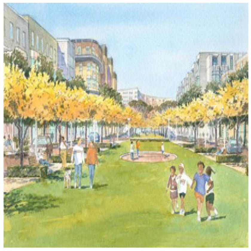 Watercolor rendering of landscaped lawn lined with trees and benches between a variety of multifamily buildings