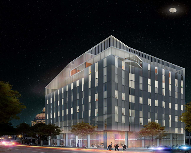Nighttime rendering of exterior corner at Van Ness and Hayes, with illuminated interior spaces and moon above