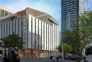 Rendering of building exterior as seen from across the street with sloped roof architectural details