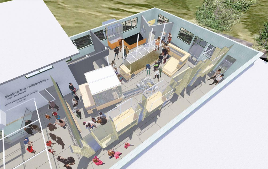 Bird's eye rendering of exhibit space as seen from above without roof