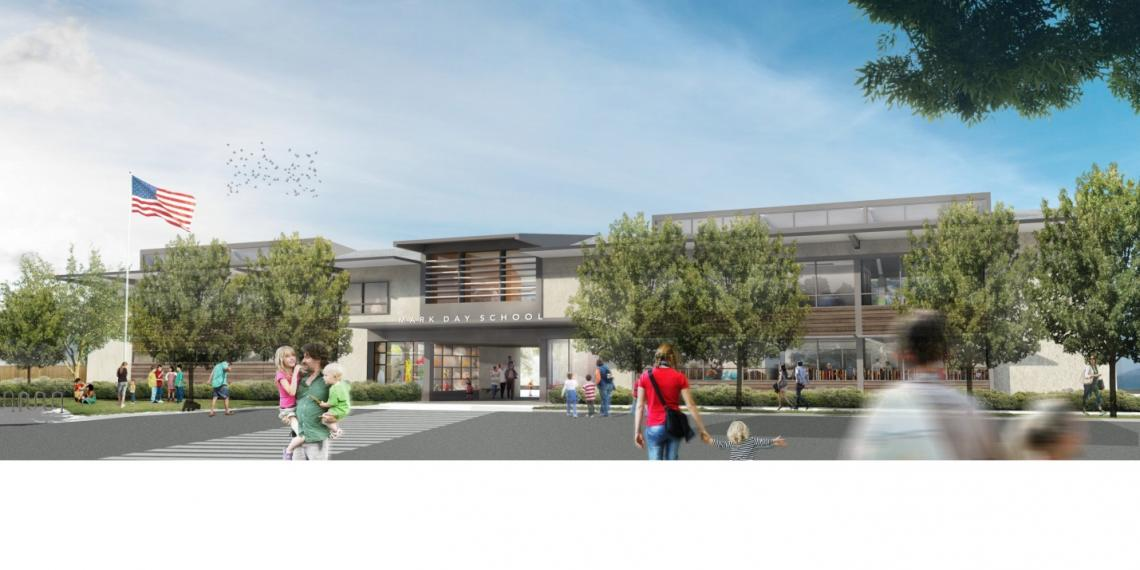 Rendering of school exterior showing people coming and going with lush trees and flagpole