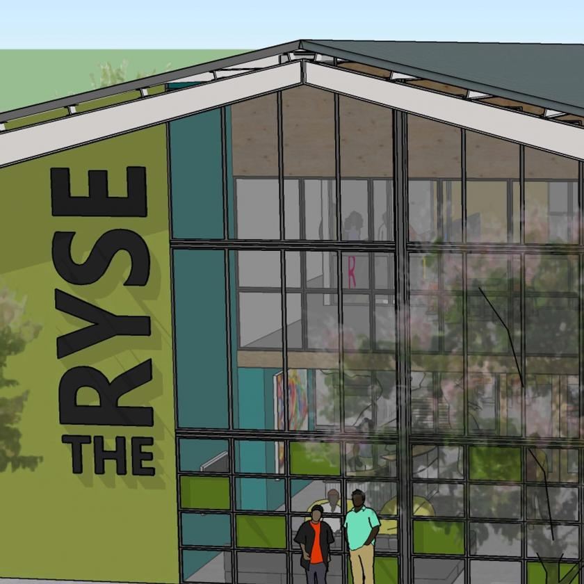 Rendering of front of building with large atrium windows, graphic sign on colorful walls and decorative color glass panels