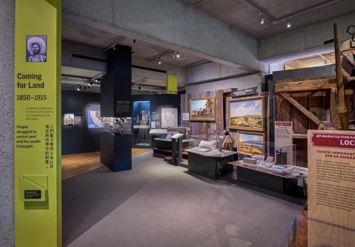 Museum interior photo of exhibits and their interpretations.