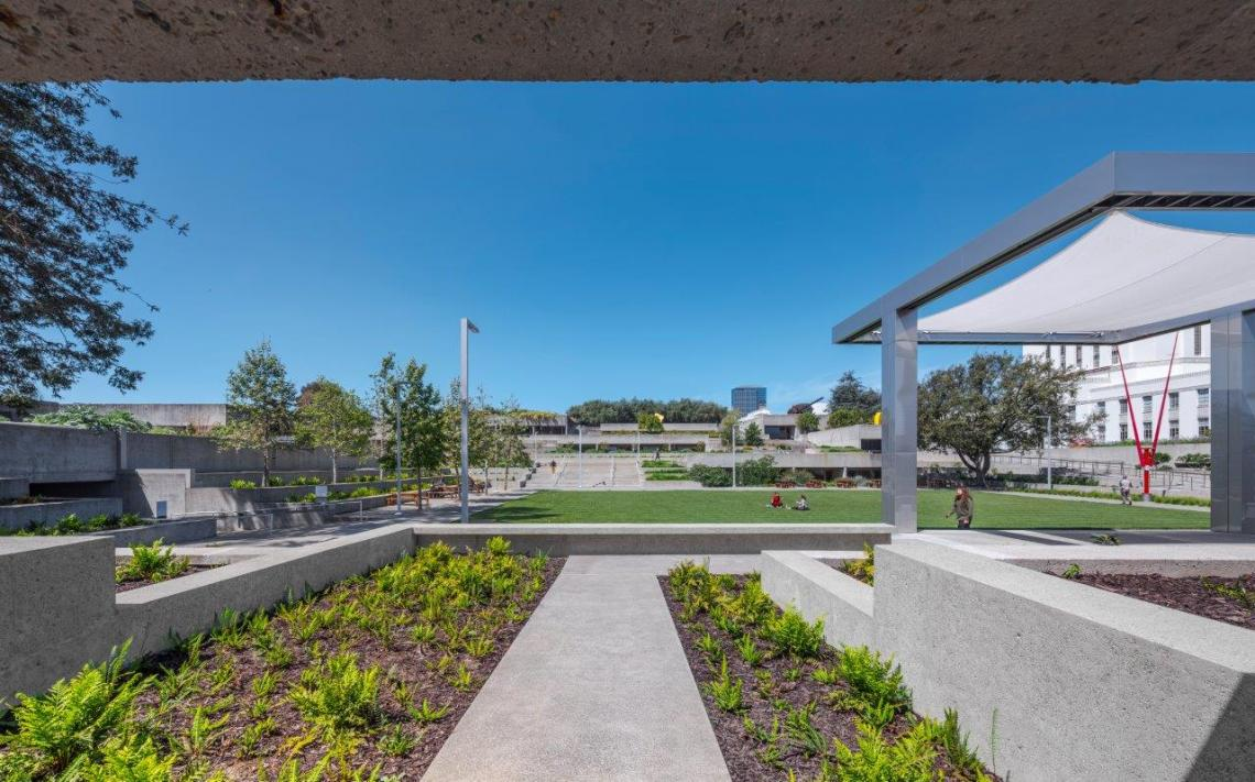 Museum exterior, terrace, and garden.