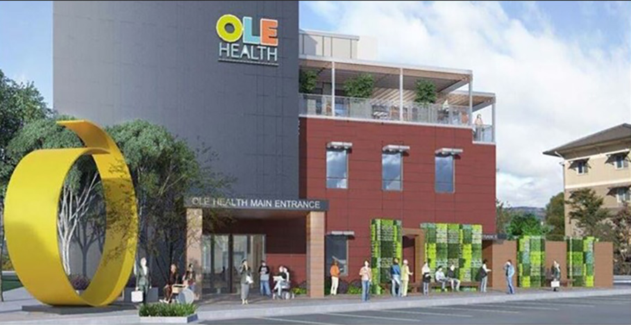 Rendering of the entrance to the OLE Health Center