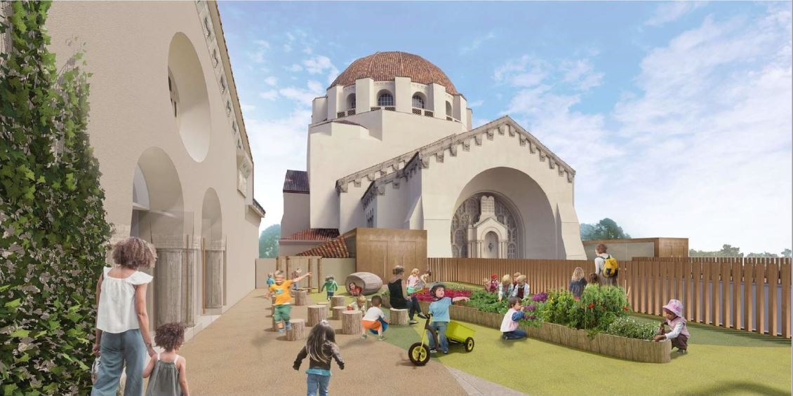 Rendering of roof terrace with children playing.