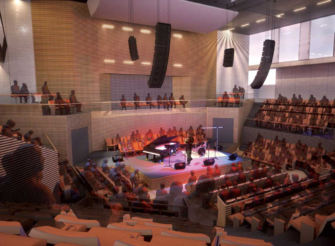 Rendering of intimate interior performance hall with wood acoustic paneling