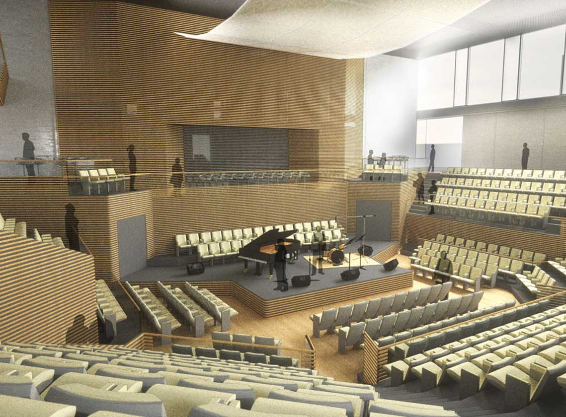 Rendering of interior performance hall flooded with daylight