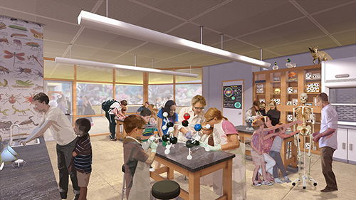 Rendering of science lab space with figures doing learning experiments at high tables