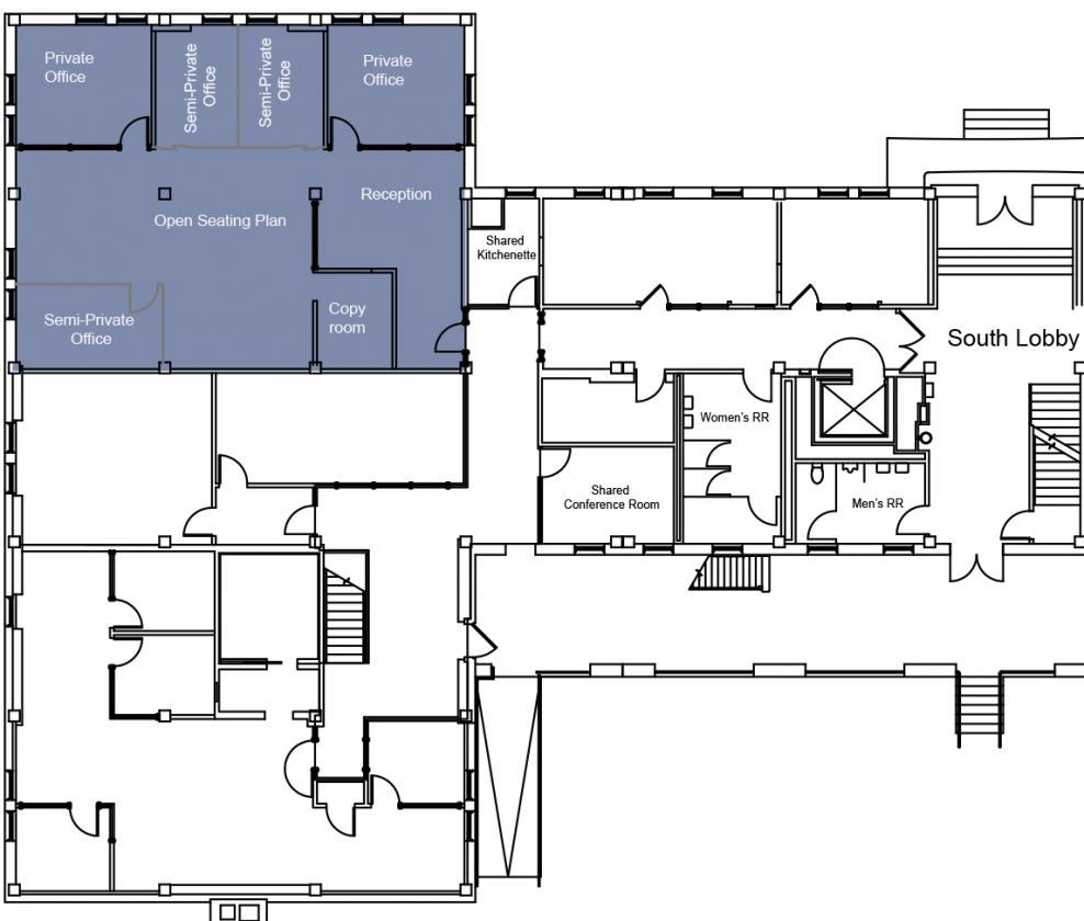 Suite 100 Floor Plan with Common Area