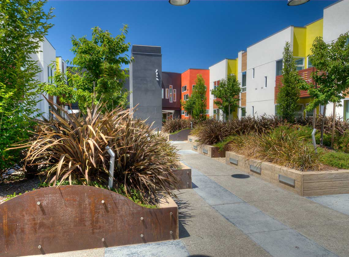 Exterior daytime view of landscaped courtyard with walls of multifamily units painted in various bright colors
