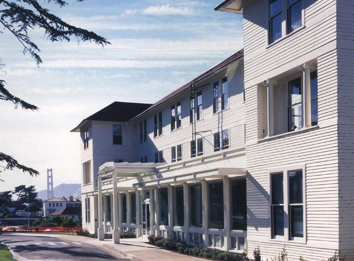 Exterior daytime view of Thoreau Center for Sustainability with Golden Gate Bridge in the distance