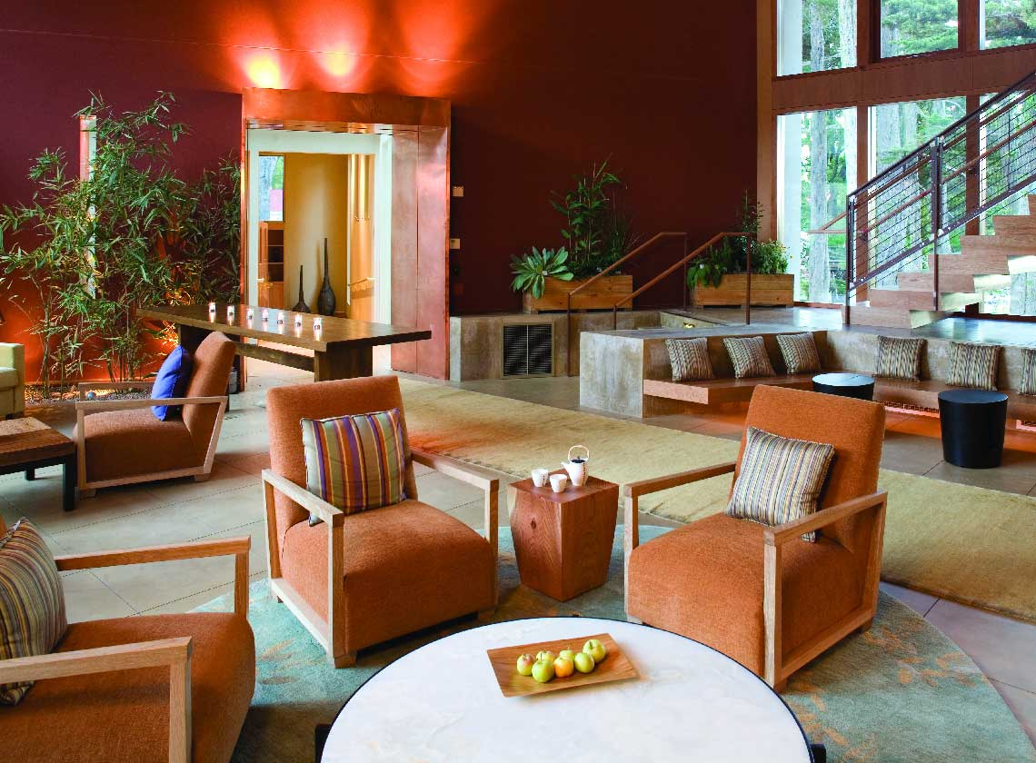 Interior of lodge lobby and lounge seating area