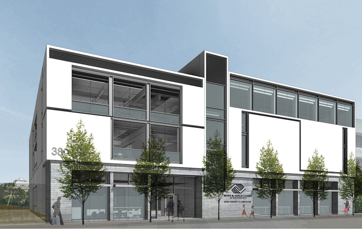Rendering of modern three-floor building structure with large windows and sleek architectural details