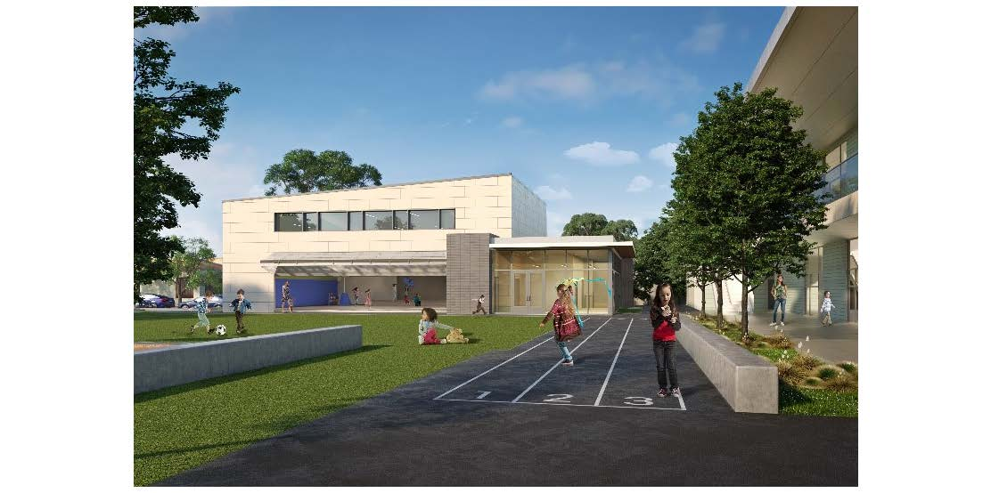 Ground-level exterior rendering of play areas with children playing with school structure in the background